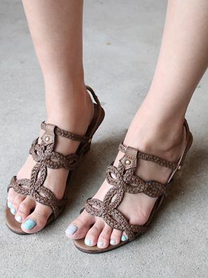 Beige Wedge Sandals (7.5cm) (30% OFF)