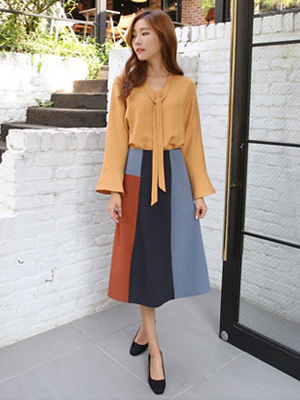 Mun color combination Skirt (30% OFF)