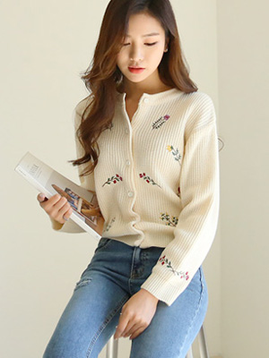 Bouquet embroidered Cardigan