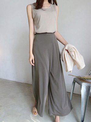 Wide band wide pants