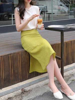 Congee Linen Slit Skirt