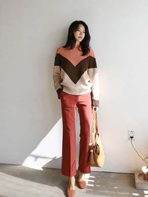 Berry color combination Knit (30% OFF)
