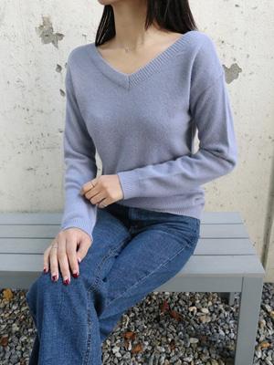 Shoudin V-neck Angora Knit