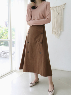 Double-button Flare Skirt