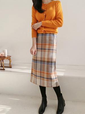 Achu Check Wool Skirt
