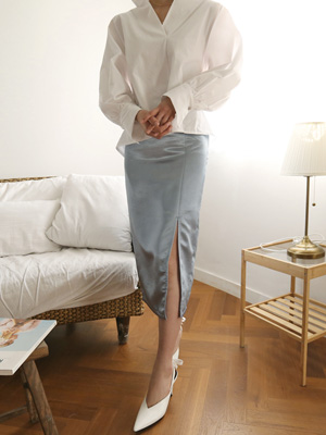 Latini Satin Slit Skirt